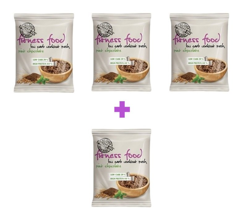 Fitness Food Low Carb Workout Mash 3+1 Zadarmo - Prom-IN 4 x 50 g Mint Chocolate